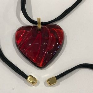 Baccarat Red Crystal Heart Necklace